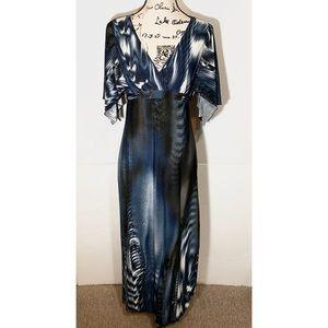Carole little tie dye dress asymmetrical sleeve